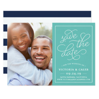 Romantic Request Photo Save the Date Card | Aqua
