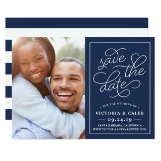 Romantic Request Photo Save the Date Card | Navy