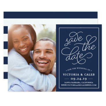 Valentines Themed Romantic Request Photo Save the Date Card | Navy