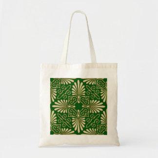 Romantic Retro Art Deco Damask Green Gold 01 Budget Tote Bag