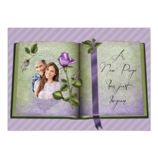 Romantic Retro Love Book Purple Wedding Invites