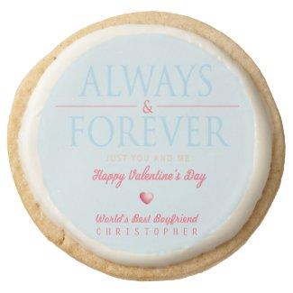 Romantic Retro Personalized Valentine Cookies Round Premium Shortbread Cookie