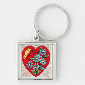 Romantic retro red Valentine's day love heart Keychain