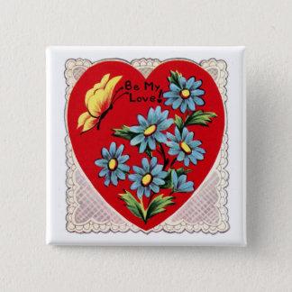 Romantic retro red Valentine's day love heart Pinback Button