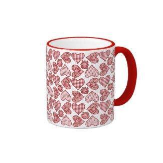 Romantic Ringer Mug, Hearts on White Background