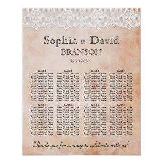 Romantic Rose and Lace Wedding Seating Chart