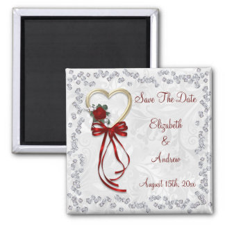 Romantic Rose, Diamonds & Red Ribbon Save The Date Magnet