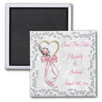 Romantic Rose, Diamonds & Ribbon Save The Date Magnet