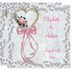 Romantic Rose, Diamonds & Ribbon Wedding Card at Zazzle