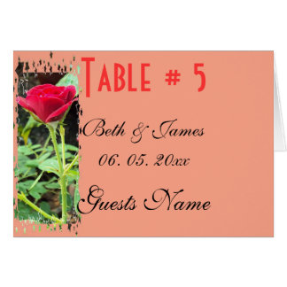 Romantic Rose Floral  Wedding Table & Menu Card