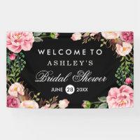 Romantic Rose Floral Wrap Wedding Bridal Shower Banner