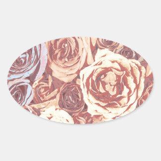 Romantic Rose Garden Oval Sticker