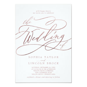 rose gold glitter wedding invitations Calligraphy