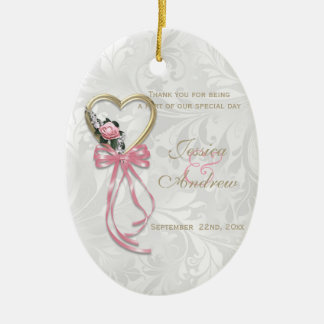 Romantic Rose, Gold Heart & Pink Ribbon Ceramic Ornament