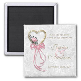 Romantic Rose, Gold Heart & Pink Ribbon Magnet