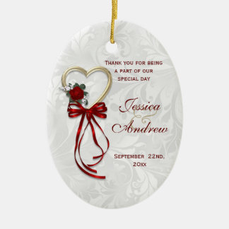 Romantic Rose, Gold Heart & Red Ribbon Ceramic Ornament
