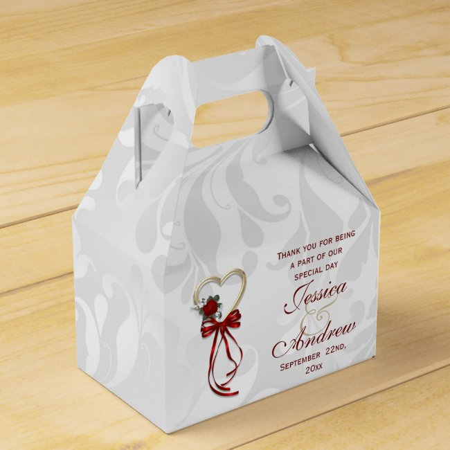 Romantic Rose, Gold Heart & Red Ribbon Favor Box