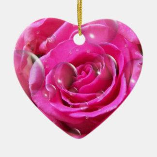Romantic Rose Heart Pink Ceramic Ornament