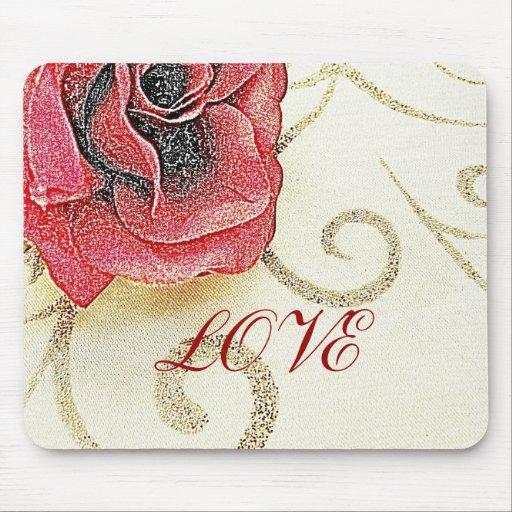 Romantic Rose Love Sketch MousepadLove Rose Sketch
