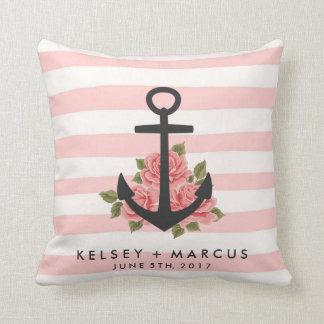 Romantic Rose Nautical Anchor Pink Wedding Pillow