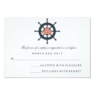Romantic Rose Nautical Wedding RSVP Card