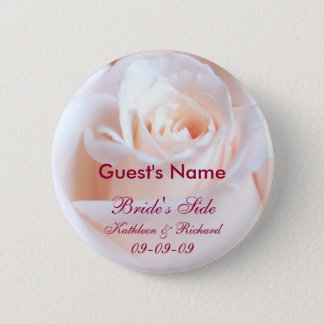 Romantic Rose Personalized Wedding Guest Button