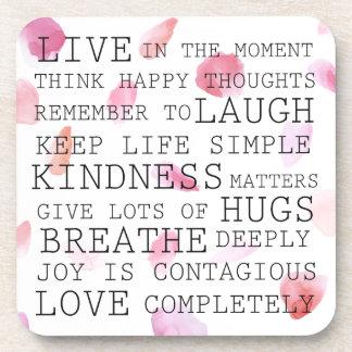 Romantic Rose Petals inspirational words Drink Coaster