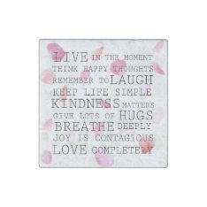 Romantic Rose Petals Inspirational Words Stone Magnet at Zazzle