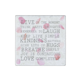 Romantic Rose Petals inspirational words Stone Magnet