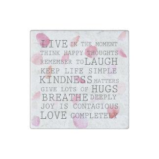 Romantic Rose Petals inspirational words Stone Magnet