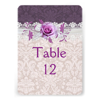 Romantic Rose Ribbon Purple Damask Table card