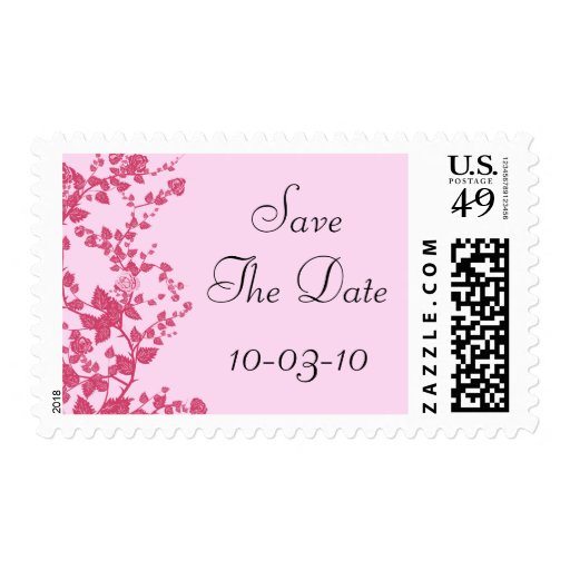 Romantic Rose Save The Date Wedding Postage Stamps