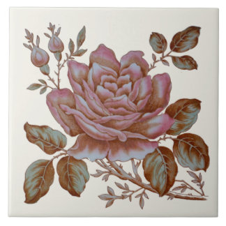 Romantic Rose Transferware Tile c. 1900 Design