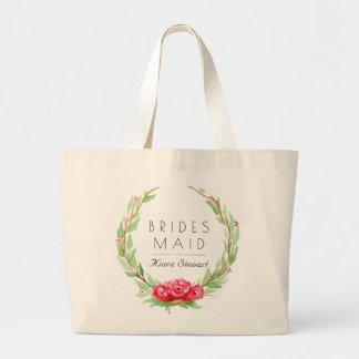 Romantic Rose Watercolor | Bridesmaid Large Tote Bag