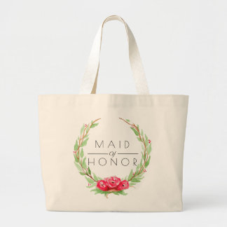 Romantic Rose Watercolor | Maid of Honor Large Tote Bag