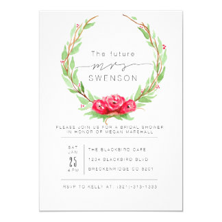 Romantic Rose Watercolor Wreath | Bridal Shower Card