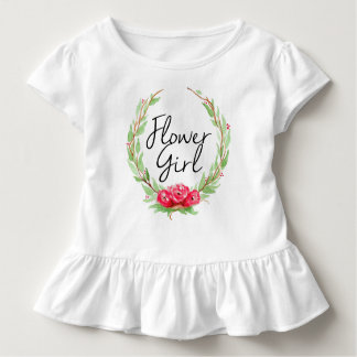 Romantic Rose Watercolor Wreath | Flower Girl Toddler T-shirt