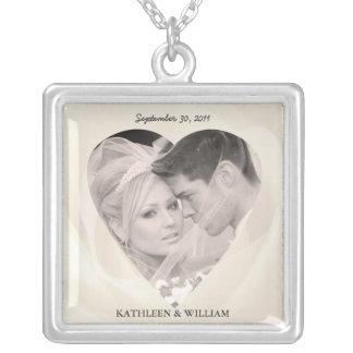 Romantic Rose Wedding Photo Pendant Necklace