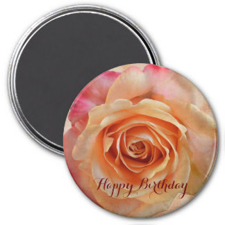Romantic rose with custom birthday text magnet