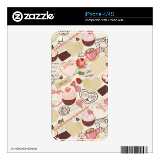 Romantic Roses and Dessert Decal For iPhone 4