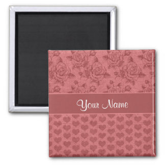 Romantic Roses and Hearts Canvas Effect Magnet