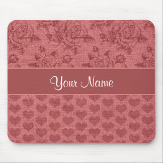 Romantic Roses and Hearts Canvas Effect Mouse Pad