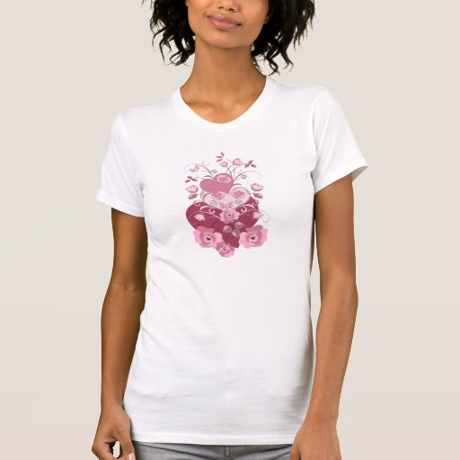 Romantic Roses and Hearts T-shirt