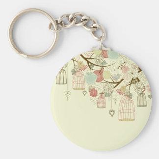 Romantic Roses, birds, birdcages, Floral Vintage Basic Round Button Keychain