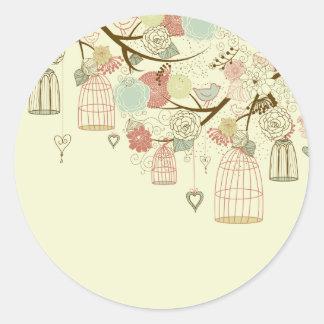 Romantic Roses, birds, birdcages, Floral Vintage Classic Round Sticker