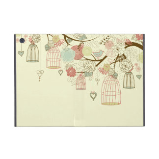 Romantic Roses, birds, birdcages, Floral Vintage Cover For iPad Mini