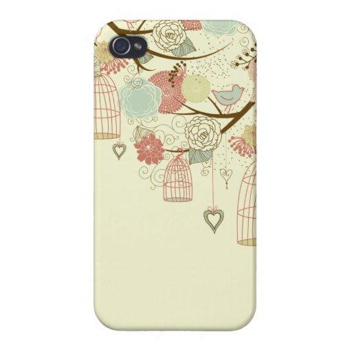 Romantic Roses, birds, birdcages, Floral Vintage iPhone 4/4S Cases