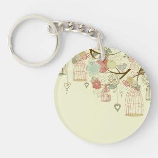 Romantic Roses, birds, birdcages, Floral Vintage Keychain