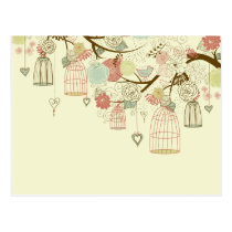 Romantic Roses, birds, birdcages, Floral Vintage Post Card