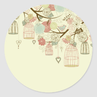 Romantic Roses, birds, birdcages, Floral Vintage Round Stickers
